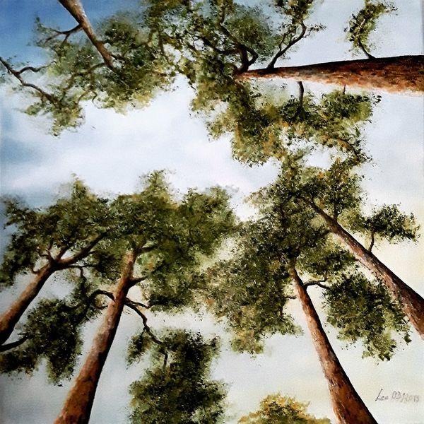 Landschaft, Landschaftsmalerei, Himmel, Durchsicht, Baum, Stimmung