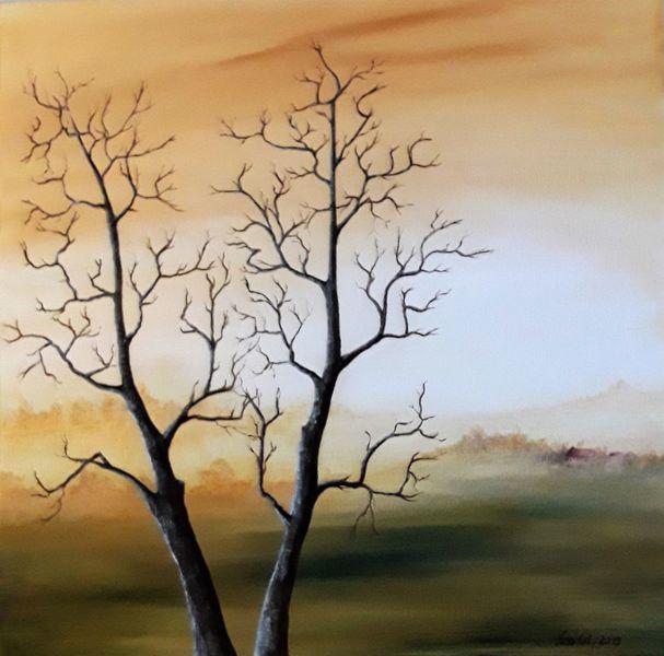 Landschaftsmalerei, Weites land, Haus, Sonnenaufgang, Ferne, Herbst