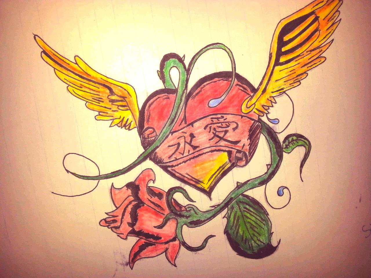 Das Herz Flügel Herz Tattoo Vorlage Zeichnungen Von Cubito Bei