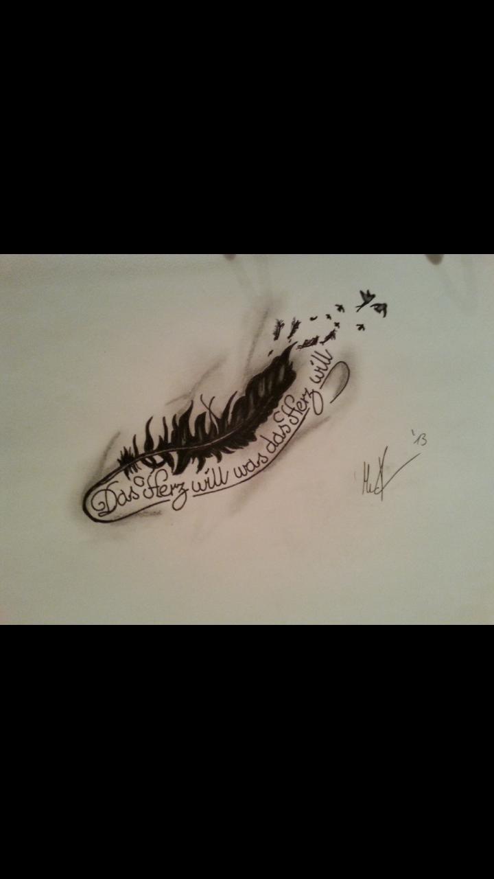 bild feder tattoo vorlage zeichnungen skurril feder