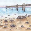 Stein, Strand, Auf papier, Aquarellmalerei