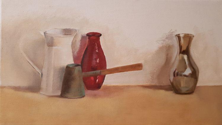 Weiß, Ölmalerei, Holz, Bronze, Malerei, Stillleben
