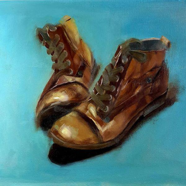 Stimmung, Oil of canvas, Stillleben, Klassisch, Alt, Schuhe