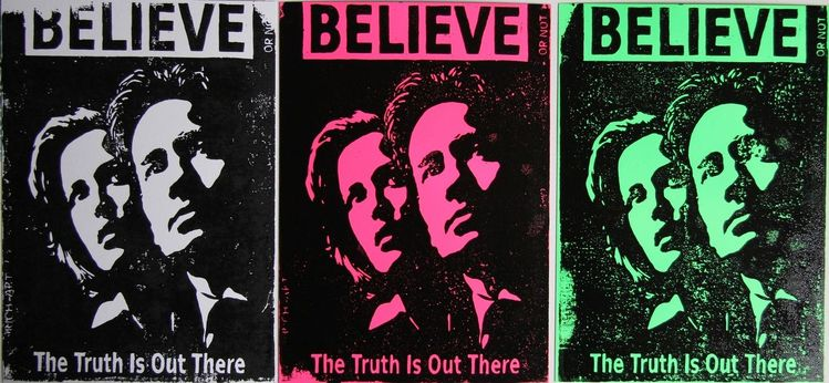 Glaube, Scully, Mulder, Linoprint, The truth, Druckgrafik