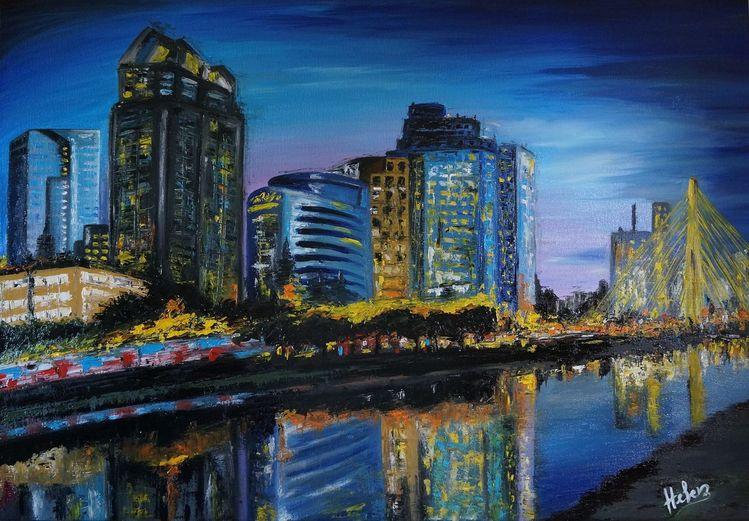Gemälde, Architektur, Nacht, Malerei, Sao,