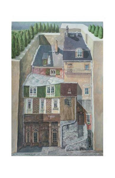 Häuser, Geometrisch, Fassade, Malerei