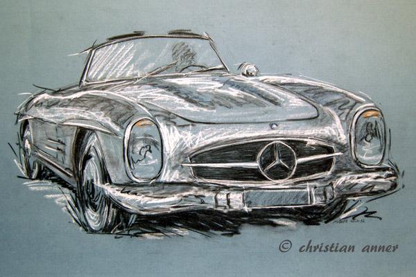 Benz, Cabrio, Mercedes, Zeichnungen, Oldtimer,