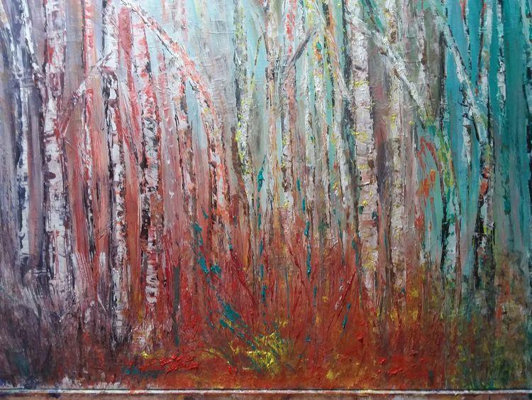 Modern, Abstrakt acryl, Birken, Wald, Malerei, Landschaft