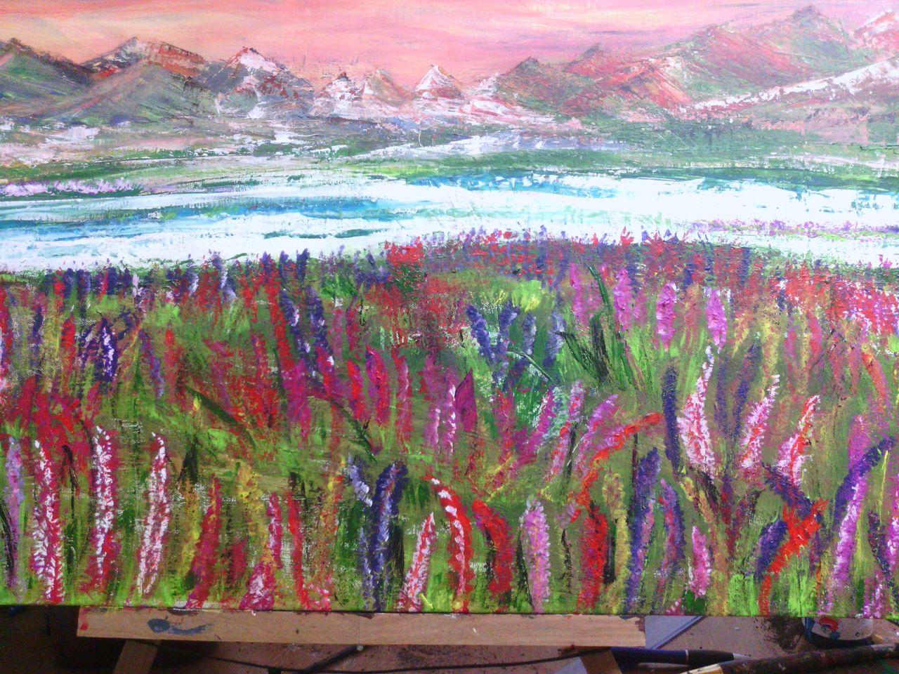 Bild blumen berge see malerei von mariontde bei kunstnet for Vorlagen malerei