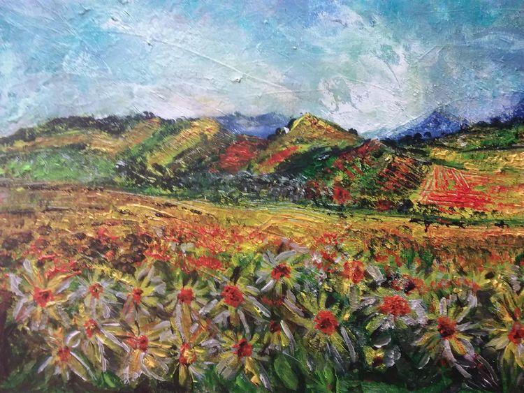 Herbst, Landschaft, Acrylmalerei, Malerei, Blumen, Natur