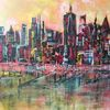 Skyline, Glitzer, Acrylmalerei, Orange
