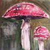 Pilze, Fliegenpliz, Rot, Acrylbild mit glitzer