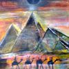 Pyramiden bei nacht, Acrylmalerei, Mond, Malen