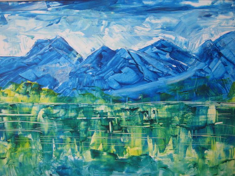 Himmel, Wolken, Spiegelung, Berge, Malerei, See
