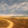 Wiese, Wanderweg, Berge, Malerei