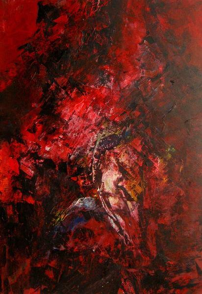 Spuren, Weg, Suche, Rot schwarz, Fantasie, Malerei