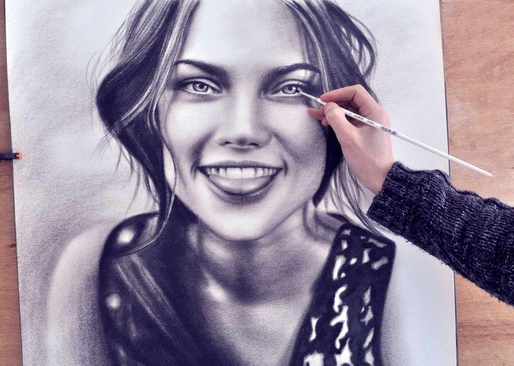 Zeichnung, Malen, Fotografie, Ölmalerei, Dry brush technique, Malerei