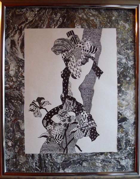 Tuschmalerei, Zeichnungen, Frau, Wald