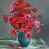 Rot, Gemälde, Blumen, Ölmalerei