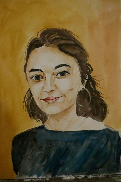 Aquarellmalerei, Portrait, Pocahontas, Aquarell