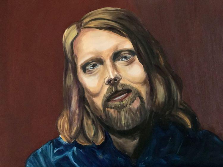 Bart, Menschen, Ölmalerei, Musiker, Portrait, Mann