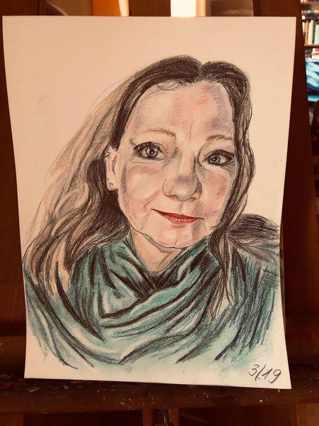 Zeichnung, Frau, Portrait, Zeichnungen, Selbstportrait
