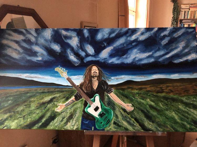 Musik, Natur, Musiker, Ölmalerei, Menschen, Mann