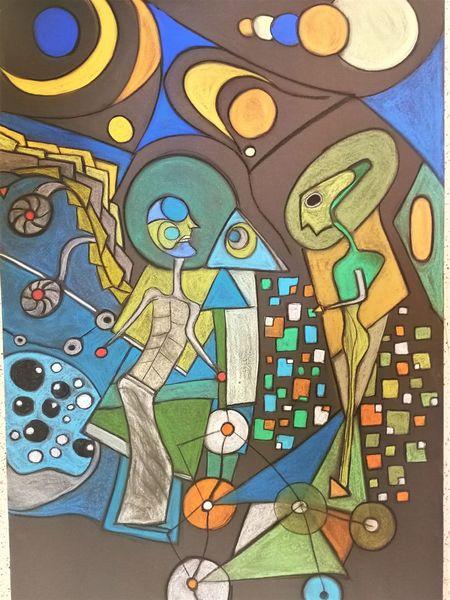 Fantasie, Begegnung, Abstrakt, Gestalt, Bunt, Figur