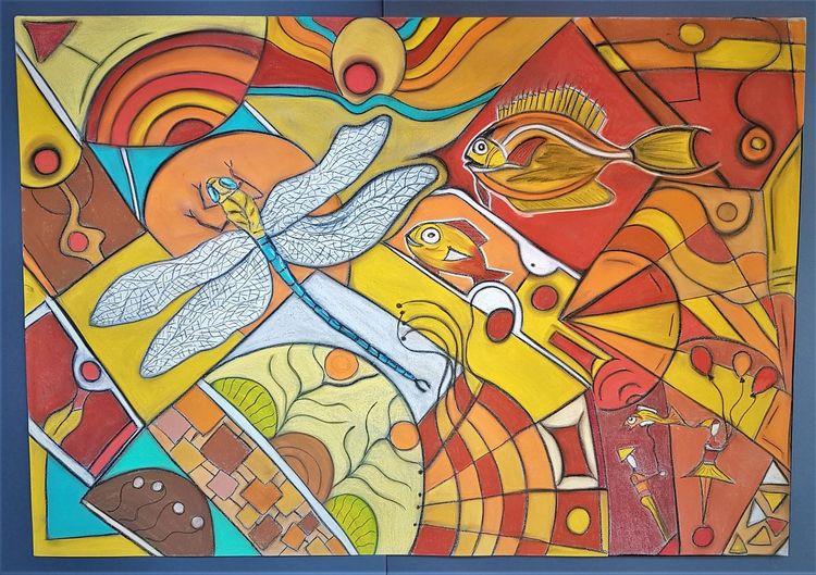 Libelle, Abstrakt, Fantasie, Fisch, Bunt, Malerei