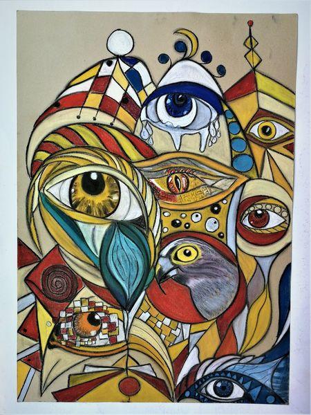 Abstrakt, Augen, Fantasie, Bunt, Malerei