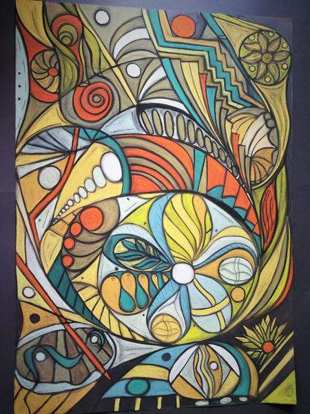 Abstrakt, Bunt, Fantasie, Wortlos, Rund, Malerei