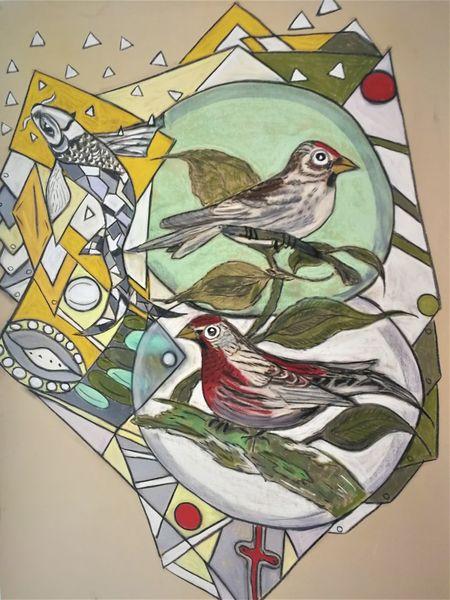 Bunt, Abstrakt, Fantasie, Vogel, Fisch, Malerei