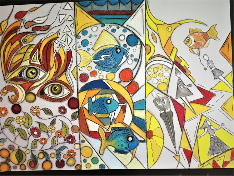 Bunt, Abstrakt, Fisch, Blumen, Augen, Fantasie