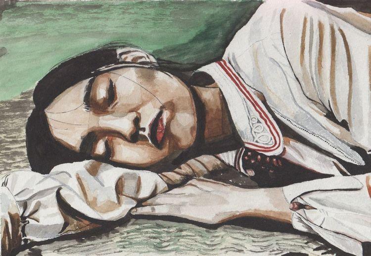 Aquarellmalerei, Portrait, Aquarell, Schlaf