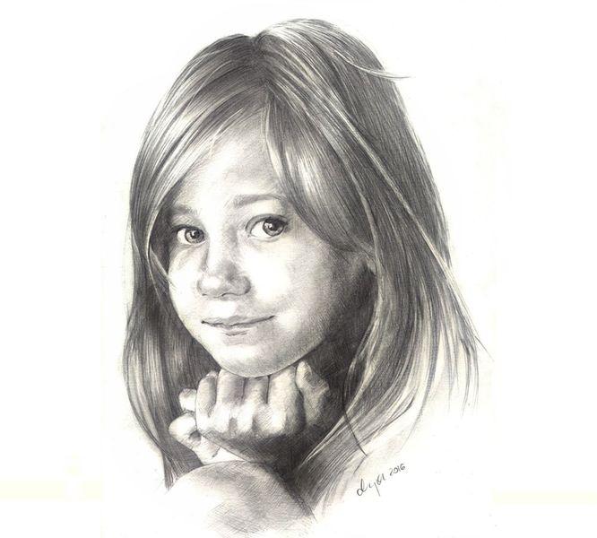 Zeichnung, Kind, Bleistiftzeichnung, Gesicht, Portrait, Mädchen