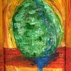 Acrylmalerei, Rahmen bemalt, Spachteltechnik, Malerei