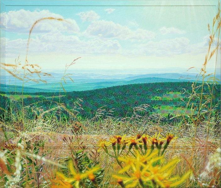 Fotorealismus, Himmel, Berge, Blumen, Sommer, Malerei
