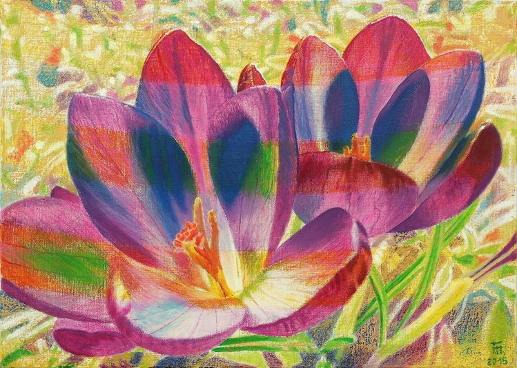 Malerei, Krokus, Natur, Frühling, Ölmalerei, Gegenständlich