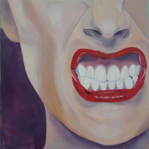 Zähne, Portrait, Wüten, Ölmalerei, Rot, Figural