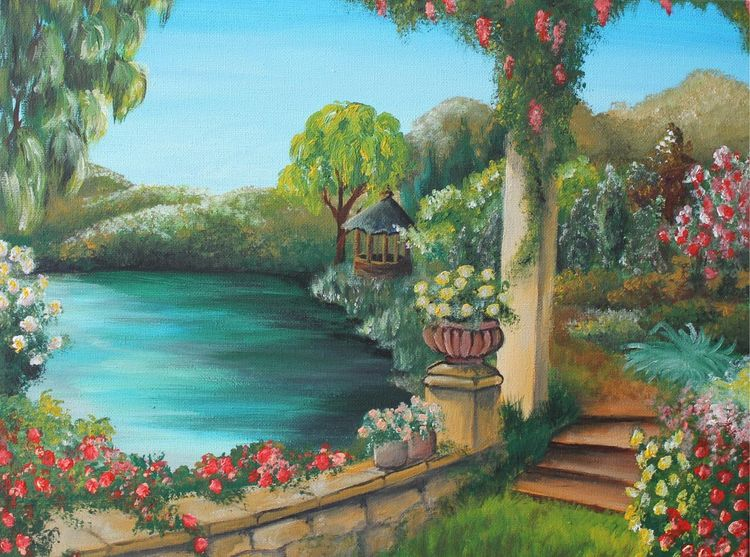 Garten, Acrylmalerei, Schöner garten, Malerei