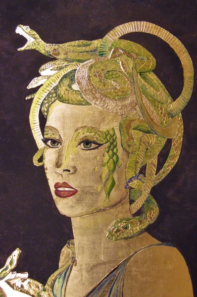 Medusa, Vergoldung, Schlange, Blattgold, Mischtechnik