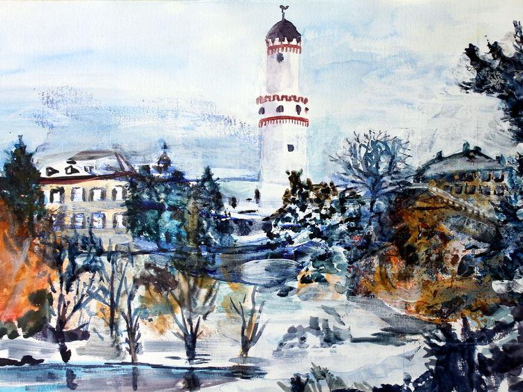 Schnee, Schloss, See, Turm, Bad homburg, Winter