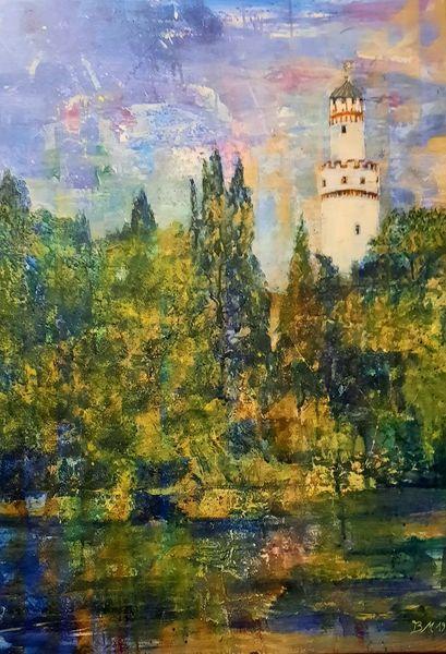 Schloss, Schlosspark, Teich, Bad homburg, Turm, Weisser turm