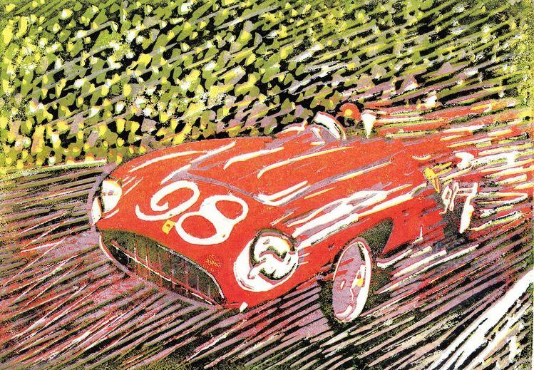 Klassiker, Ferrari, Auto, Retro, Cabrio, Druckgrafik