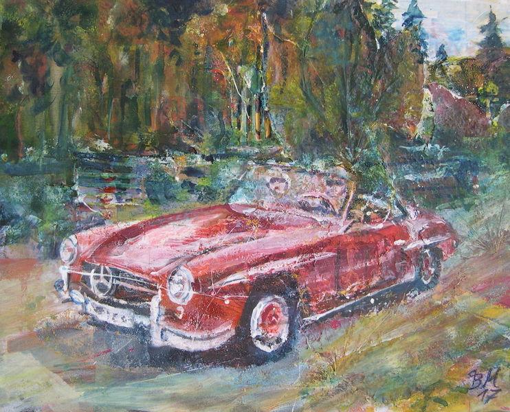 Mercedes, Auto, Cabrio, 190sl, Geschwindigkeit, Malerei