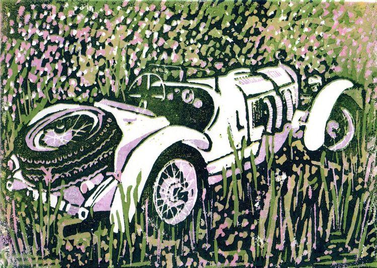 Oldtimer, Mercedes, Auto, Roadster, Druckgrafik, Benz