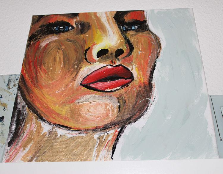Blick, Gesicht, Augen, Gold, Blaue augen, Rote lippen