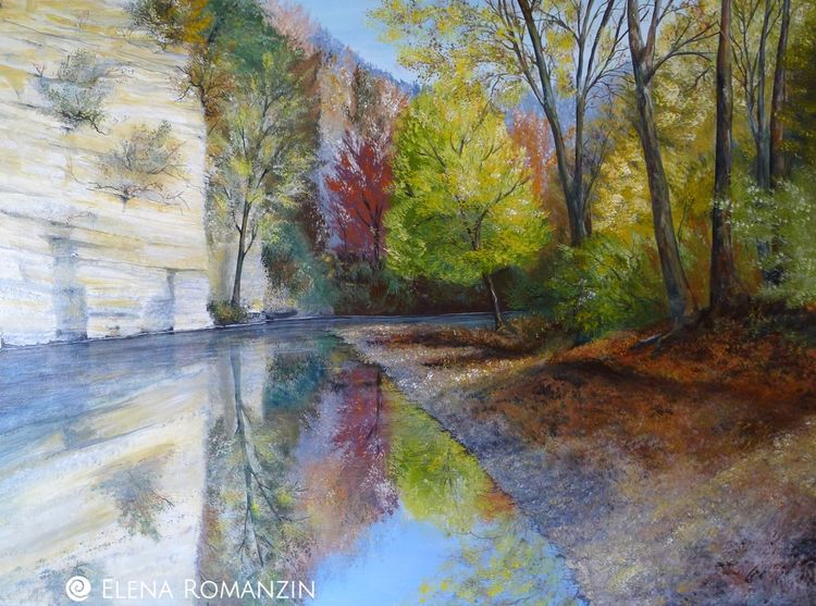 Malerei, Wutachschlucht, Acrylmalerei, Landschaft