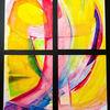 Malerei, Abstrakt quadrat, Improvisieren, Aquarellmalerei