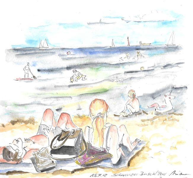 Zeichnung, Person, Aquarellmalerei, Wasser, Ostsee, Figural